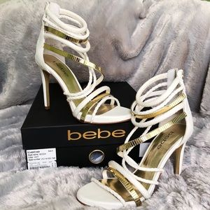 Bebe white & gold strappy heel